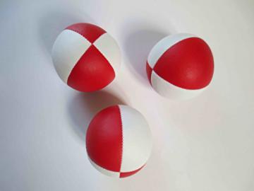 Balle Classic Tissu - 68 mm - 120 gr - Lot de 3 balles / Blanc-Rouge